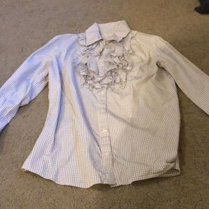 Banana Republic Ruffle Shirt Size Large Grey/White